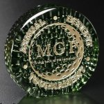 Recycled Glass Raindrop Green Achievement Award Trophies