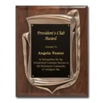 Antique Bronze Frame with Walnut Plaque Achievement Award Trophies