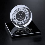 Hockey Puck on Black Glass Base Achievement Award Trophies