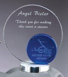 Crystal Blue Round Blue Optical Crystal Awards