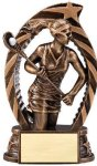Antique Bronze and Gold Award -Lacrosse Female Bronze and Gold Star Resin Trophy Awards