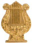 Gold Music Lyre Metal Chenille Letter Insignia Chenille Lapel Pins