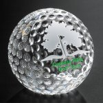 Clipped Golf Ball Clear Optical Crystal Awards