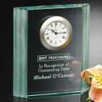 Jade Wave Clock Crystal Glass Awards
