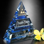 Accolade Indigo Pyramid Crystal Glass Awards