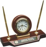 Rosewood Piano Finish Desk Clock W/Two Pens Desk Pen Sets