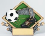 Resin Diamond Plate -Soccer Diamond Plate Resin Trophy Awards