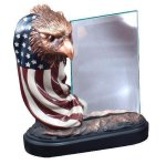 Resin Eagle and Flag with Glass Eagle Resin Trophy Awards