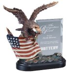Eagle On Flag With Glass Eagle Trophy Awards