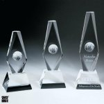 Diamond Globe Trophy Crystal Award Employee Awards