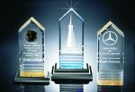 Fluted Bottom Beveled Tower Acrylic Award Employee Awards