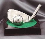 Iron and Ball On Wood Base Golf Awards