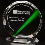 Danbury Emerald Circle Green Optical Crystal Awards