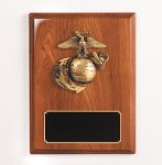 Walnut Piano Finish Marine Plaque Military Trophy Awards