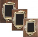 Genuine Walnut Plaque with Metal Scroll Relief Recognition Plaques