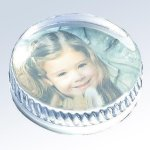 Molten Glass Round Photo Paperweight Secretary Gift Awards