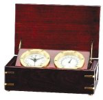 Clock and Thermometer in Rosewood Piano Finish Box Secretary Gift Awards