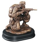 Soldier Kneeling With Rifle Drawn Signature Black Resin Trophy Awards