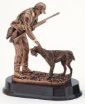 Hunter With Dog Signature Rosewood Resin Trophy Awards