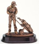 Golfer With Trolley, Male Signature Rosewood Resin Trophy Awards