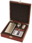 Rosewood Finish Flask Set Wine Gifts