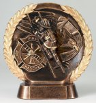 Resin Plate -Fireman Wreath Mini Resin Trophy Awards
