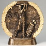 Resin Plate -Golf Male Wreath Mini Resin Trophy Awards
