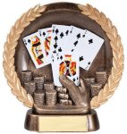 Resin Plate -Poker Hand Wreath Mini Resin Trophy Awards