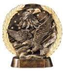 Resin Plate -Eagle On Flag Wreath Mini Resin Trophy Awards