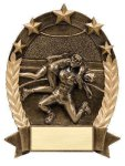 5 Star Oval -Wrestler Male Wrestling Trophy Awards